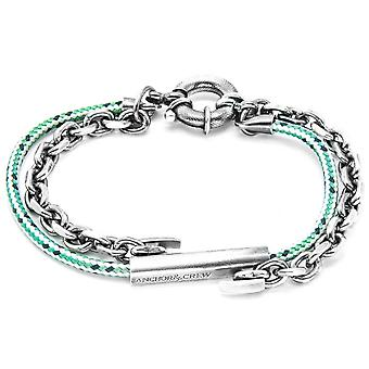 Anchor and Crew Belfast Silver and Rope Bracelet - Green Dash