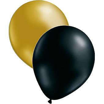 Balloons 12-pack Black and Gold | 30 cm (12in)