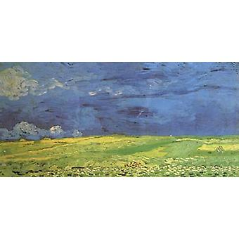 Wheat Field under Clouded Sky, Vincent Van Gogh, 80x40cm