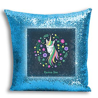 i-Tronixs - Unicorn Printed Design Blue Sequin Cushion / Pillow Cover with Inserted Pillow for Home Decor - 15