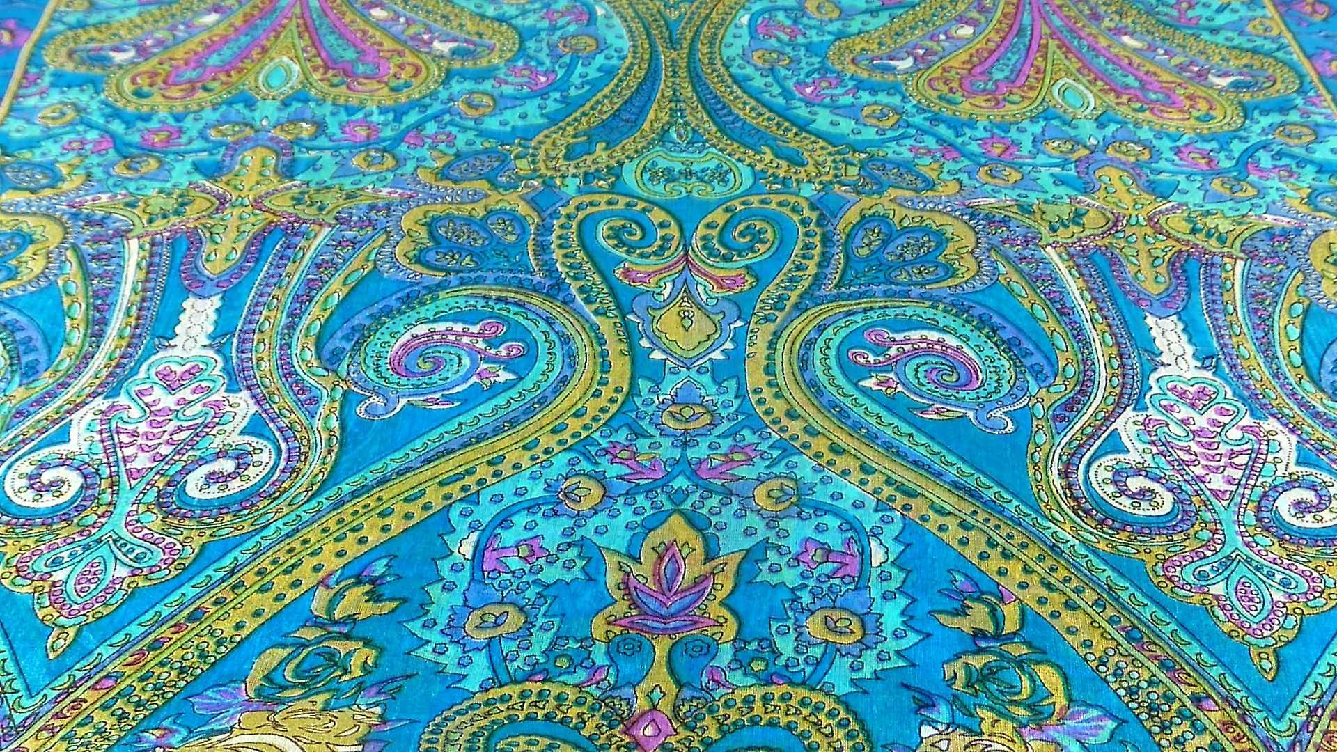 Mulberry Silk Traditional Long Scarf Godavary Aqua by Pashmina & Silk