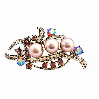 Champagne Pearls Smoked Topaz Crystals Bridal Antique Gold Brooch Pin