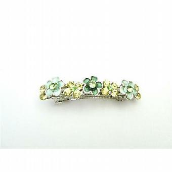 Florecen de junquillo verde cristales oranment del pelo BARRETTES