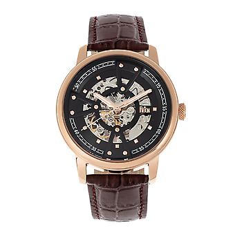 Reign Belfour Automatic Skeleton Leather-Band Watch - Rose Gold/Black