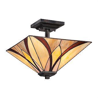 Asheville Style Tiffany lampe de plafond semi-encastré - Elstead éclairage Qz / Asheville / QZ/ASHEVILLE/SF