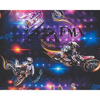 Moto de Motocross moto Wallpaper enfants adulte multicolore en relief