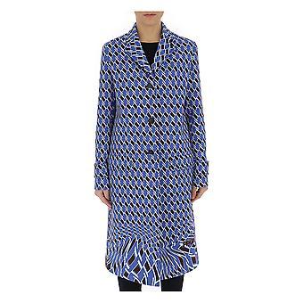 Prada Light Blue/brown Polyester Coat