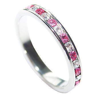Ah! Jewellery Rose Clear Cubic Zirconia Eternity Band Sterling Silver
