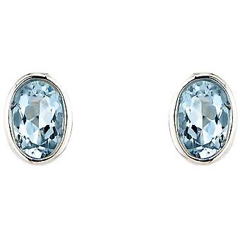 Mark Milton Aquamarine ovala örhängen-blå/silver