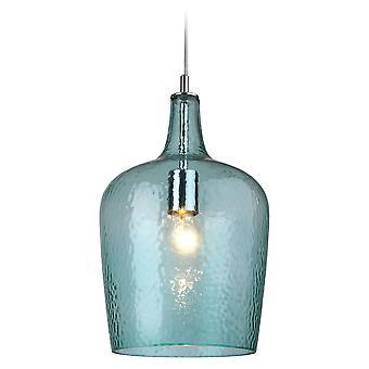 Firstlight-1 lys glasloft vedhæng krom, Aqua Glass-2301AQ
