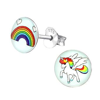 Kinderen Sterling Silver Rainbow en Unicorn Stud Oorbellen