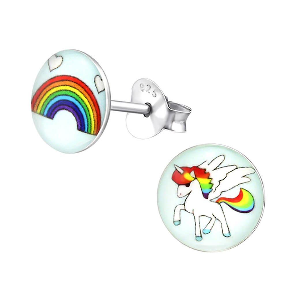 Childrens Sterling Silver Rainbow Stud Earrings