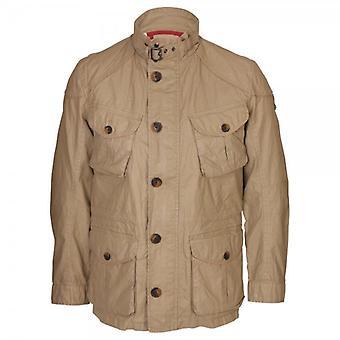 Hackett Wax Coated Linen Serengeti Field Jacket, Sand