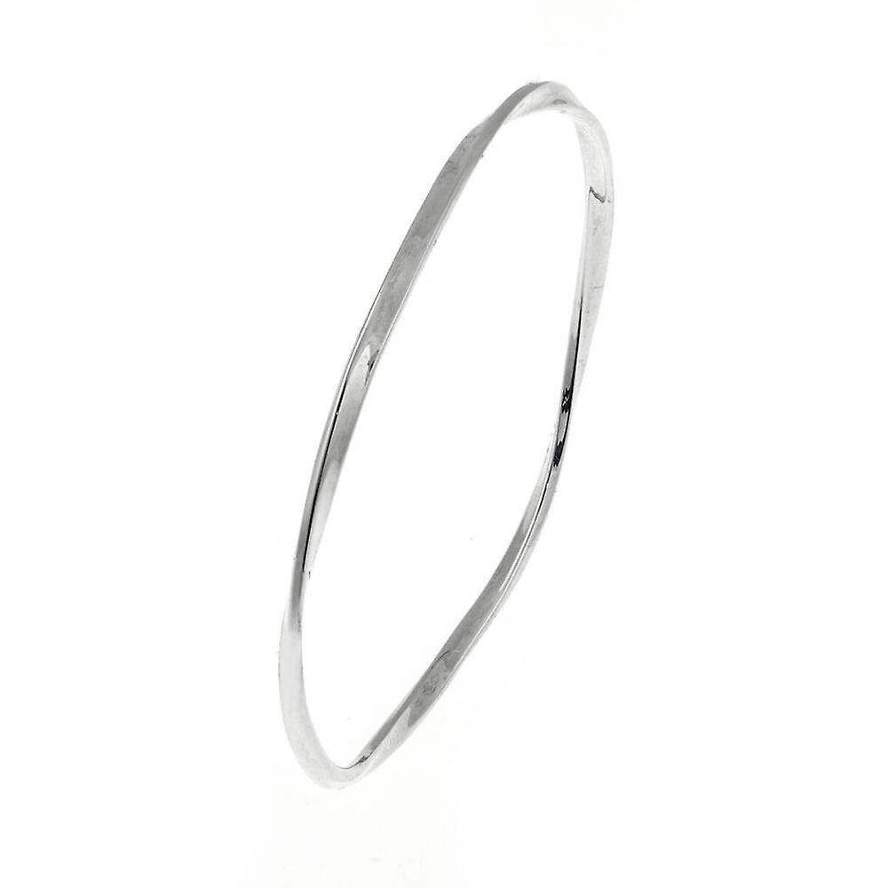Eternity Sterling Silver Flat Twisted Bangle