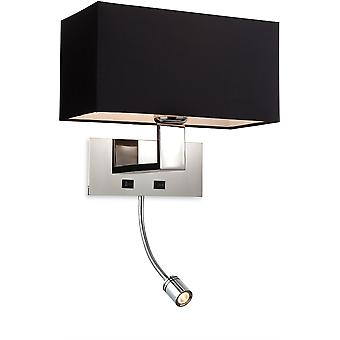 Firstlight - 1 Light 2 Light Switched Indoor Wall Light Polierter Edelstahl, Schwarz - 8608BK