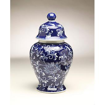 AA Importing 59947 14 Inch Blue & White Ginger Jar