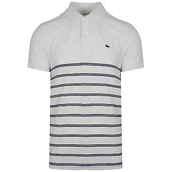 Lacoste Cream & Navy stripete Polo skjorte