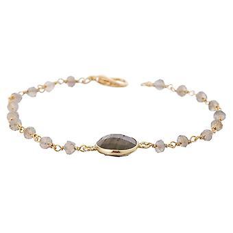 Gemshine armbånd med grå skimrende labradorites i 925 sølv eller gullbelagt