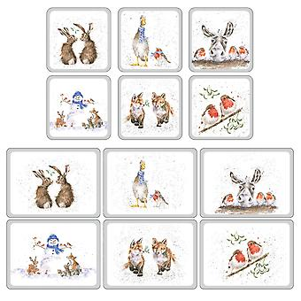 Pimpernel Wrendale Christmas Placemats og Coasters