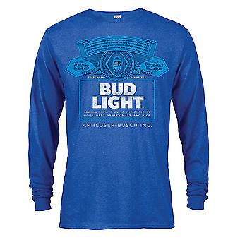Bud Light Label Long Sleeve Men's Blue T-Shirt