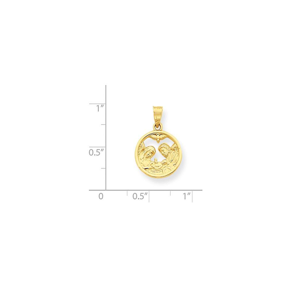 10 k Gelbgold poliert strukturierte zurück Krippe Anhänger Anhänger Halskette Schmuck Geschenke für Frauen
