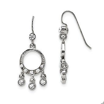 Silver tone Shepherd hook Crystal Chandelier Long Drop Dangle Earrings Measures 42x15mm Wide Jewelry Gifts for Women