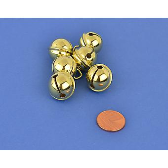 6 Gold 19mm Cat Bell Style Jingle Bells for Crafts