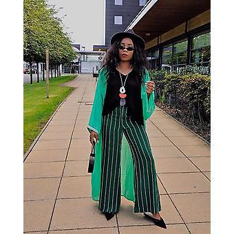 Amazon mujeres's gasa pura capa de kimono de manga larga en verde