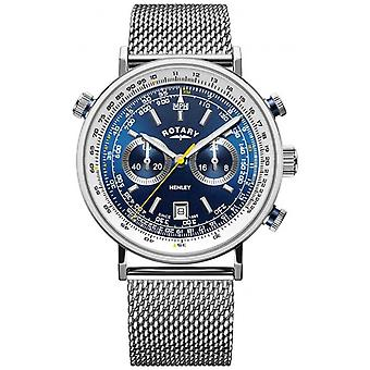 Rotary | Men's Henley Chronograph | Steel Mesh Bracelet | Blue Dial GB05235/05 Watch