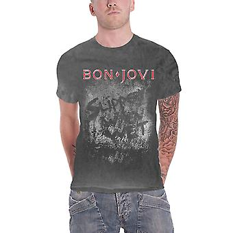 Bon Jovi T Shirt Slippery When Wet Band Logo new Official Mens Vintage Wash