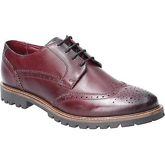 Base London Mens Grundy Washed Lace Up Leather Oxford Shoes