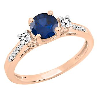 Dazzlingrock Collection 10K 6 MM Round Blue Sapphire & White Sapphire & Diamond Engagement Ring, Rose Gold