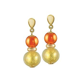 Eternal Collection Veneto Burnt Orange Murano Glass Gold Tone Drop Screw Back Clip On Earrings