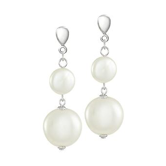 Eternal Collection Etiquette White Shell Coin Pearl Silver Tone Drop Screw Back Clip On Earrings