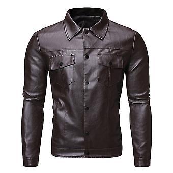 Allthemen Men's Slim Fit Revers Solid Button Ledermantel