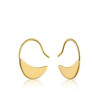 Ania Haie Sterling Silver Shiny Gold Plated Geometry Hook Earrings E005-06G