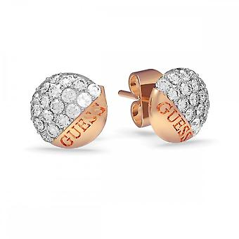 Guess Jewellery Guess Rose Gold Pave Round Button Studs Earrings UBE78050