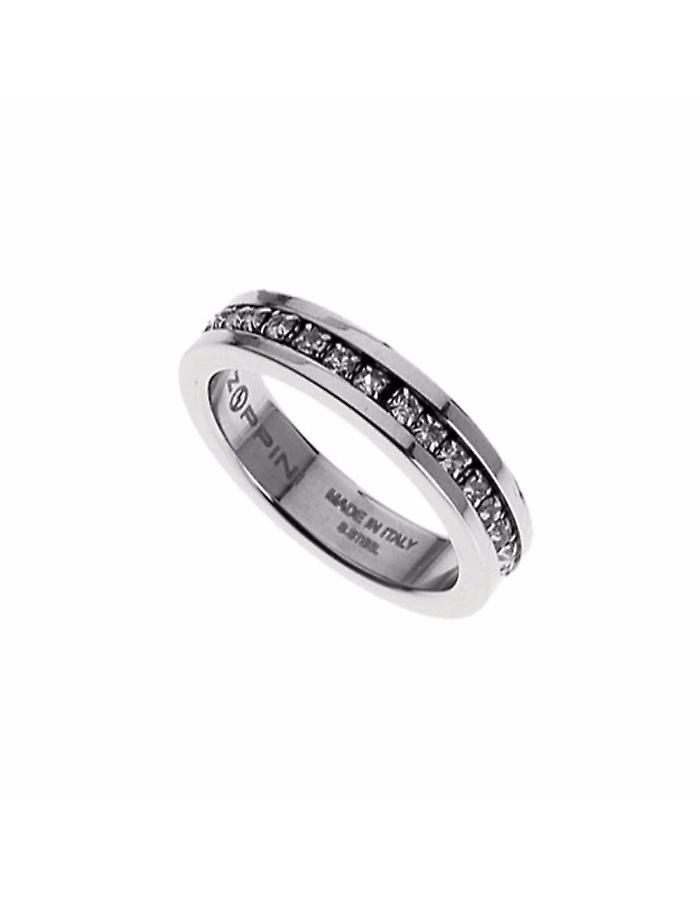 Zoppini Stainless Steel Strass Ring Size 12