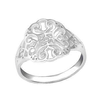 Patterned - 925 Sterling Silver Plain Rings - W35385X