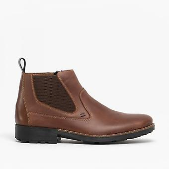 Rieker 36062-25 Mens Leather Warm Side Zip Chelsea Boots Brown
