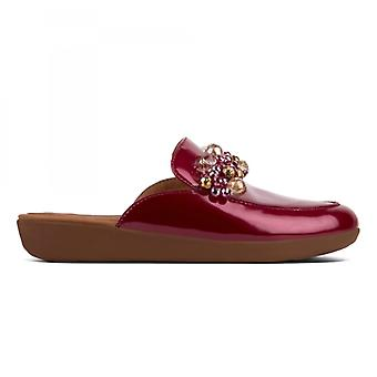 FitFlop Serene Deco Ladies Mule Loafers Fire Red