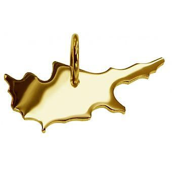 Pendentif de chaîne de carte en or jaune-or sous la forme de CYPRUS