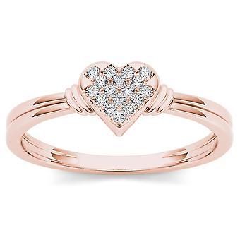 Igi gecertificeerd 10k roségoud 0,05 ct diamant hart mode verlovingsring