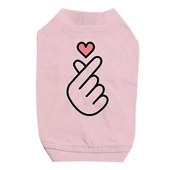 365 Printing Finger Heart Pink Pet Shirt for Small Dogs Cute Graphic Cat Tee