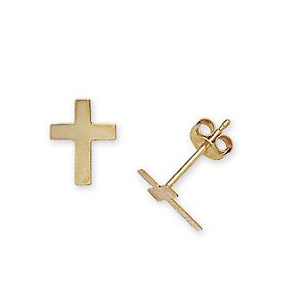 14k Yellow Gold Religious Faith Cross Stamping for boys or girls Earrings Measures 9x7mm
