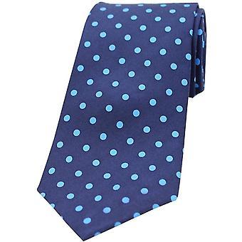 David Van Hagen Polka Dots gedruckt Seide Krawatte - Marine/Hellblau