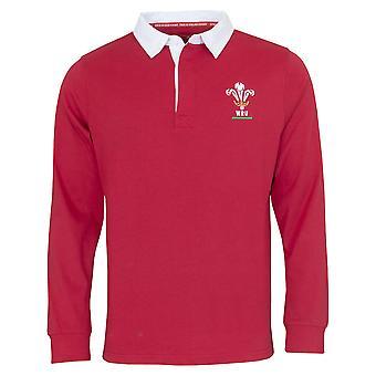 Wales WRU Rugby Mens Long Sleeve Rugby Shirt