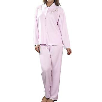 Naiset La Marquise Jacquard Style Polycotton Pyjamas Sleepwear L/Xl Pinkki