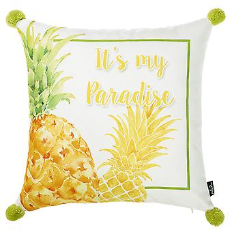 """18""""x 18"""" Tropical Paradise Printed Decorative Throw Pillow Cover"""