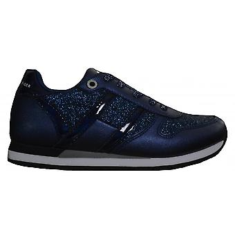 Tommy Hilfiger Girls Navy Blue Glitter Lace Up Trainers